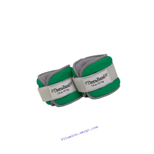 TheraBand Comfort Fit Ankle & Wrist Cuff Wrap Walking Weight Set, Adjustable Wrist and Ankle Weights for Home Workout, Ankle Strengthening & Toning Workouts, Green 1.5 lb. Each, Set of 2, 3 Pounds