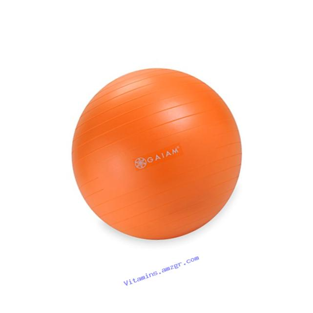 Gaiam Kids Balance Ball - Anti-Burst Exercise Stability Ball for Kids with Air Pump, Orange, 45cm
