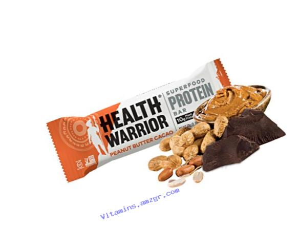 HEALTH WARRIOR Superfood Protein Bars, Peanut Butter Cacao, Plant-Based Protein, 50g bars, 12 count