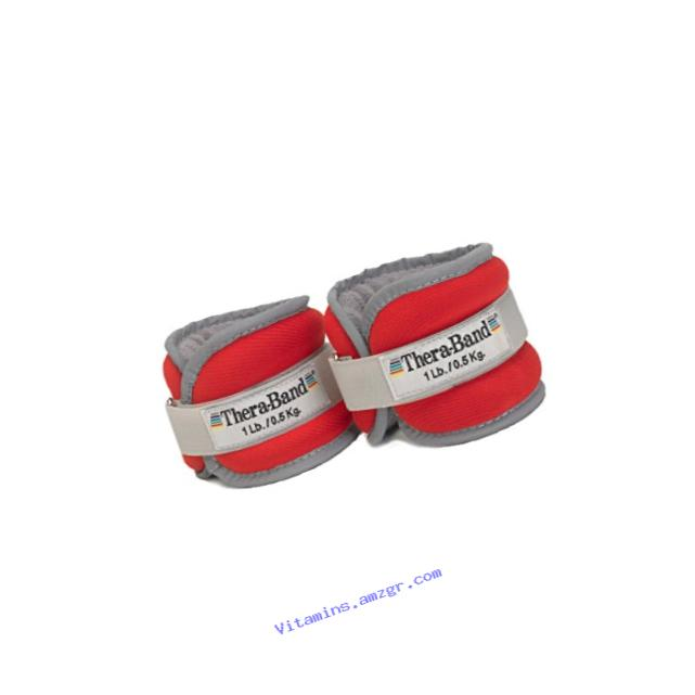 TheraBand Comfort Fit Ankle & Wrist Cuff Wrap Walking Weight Set, Adjustable Wrist Weights & Ankle Weights for Home Workout, Ankle Strengthening & Physical Therapy, Red, 1 lb. Each, Set of 2, 2 Pounds