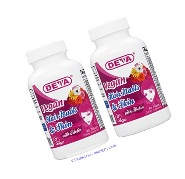 Deva Nutrition Vegan Vitamins for Hair Nails and Skin, 2 Count