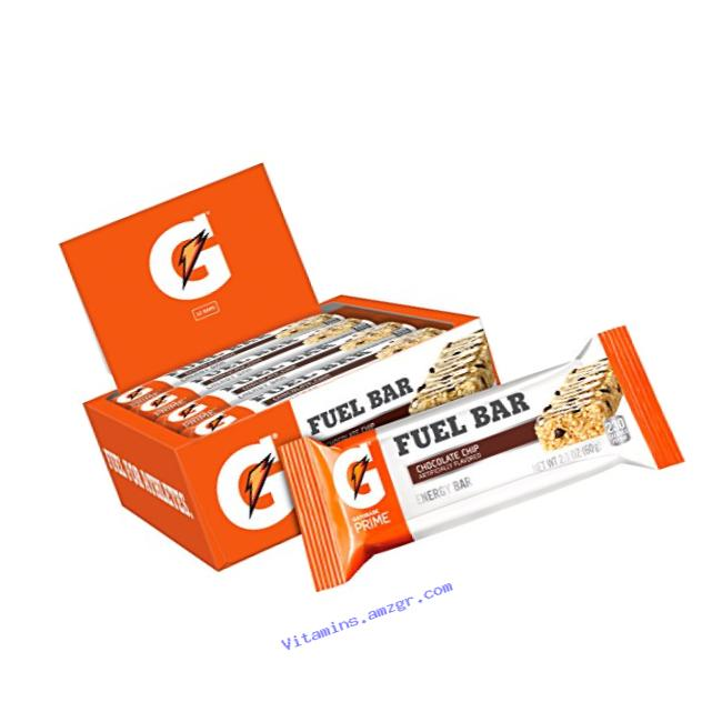 Gatorade Prime Fuel Bar, Chocolate Chip, 45g of carbs, 5g of protein per bar (12 Count)