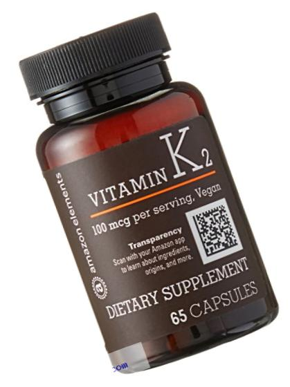 Amazon Elements Vitamin K2, 100mcg, 65 Capsules