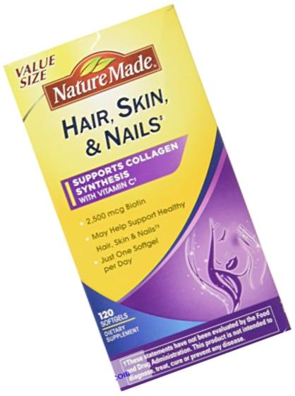 Nature Made Hair, Skin and Nails with 2500 mcg Biotin Softgels, 120 Count