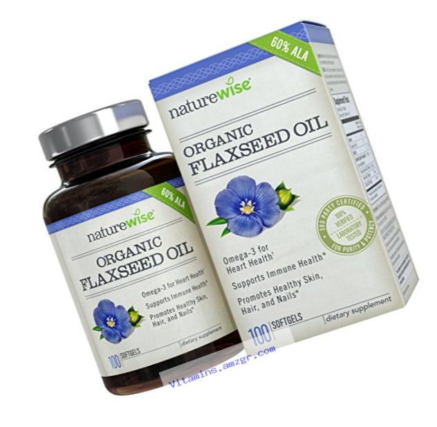 NatureWise Organic Flaxseed Oil with Omega-3??�s for Healthy Skin, Nails & Hair, Promotes Cardiovascular Health & Immune Support, Non-GMO, Gluten-Free, 1000 mg, 100 count