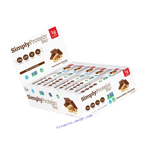 Simply Protein Bar, Peanut Butter Chocolate, Gluten Free, Vegan, 1.4 Ounce (Pack of 15)