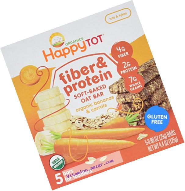 Happy Tot Organic Fiber & Protein Soft-Baked Oat Bars, Organic Toddler Snack, Banana & Carrot, 5 x 0.88 Ounce Bar (Pack of 6)