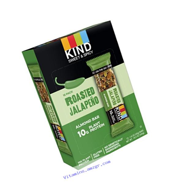 KIND Bars, Roasted Jalape?�o, Gluten Free, Sweet & Spicy KIND Bars, 10g Protein  ( 12 bars )
